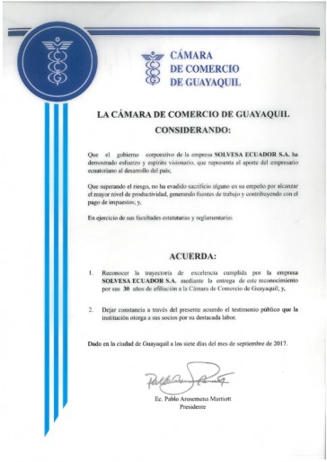 Recognition Of The Chamber Of Commerce Of Guayaquil
