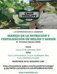 Invitación Charla Manejo de la Nutrición y Fertilización en Melón y Sandía